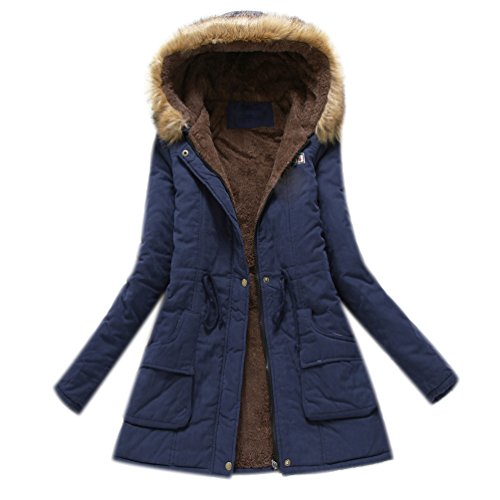 Coats Ladies Anoraks Parkas Fall Trench Long Thick Military Winter Parka Navy Hood Padded Blue Parka Womens Navy with Coat Jacket qTZwff