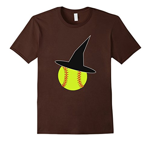 Mens Halloween Softball Witch Hat T-Shirt for Girls & Women XL Brown - Softball Player Costumes