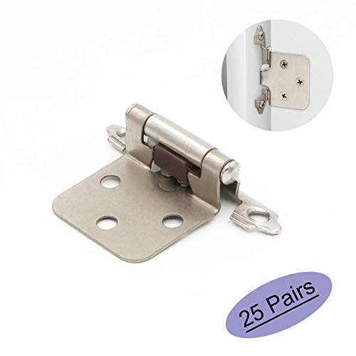 Lot of 25 Pairs(50 Units) goldenwarm Variable Overlay Cabinet Hinges Satin Nickel - SCH30SNB Brushed Nickel Face Mount Hinges for Kitchen Cabinets Self Closing,Decorative