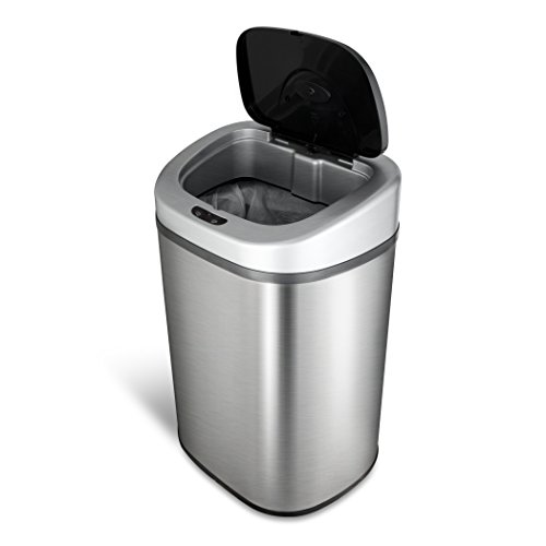 NINESTARS DZT-80-4 Automatic Touchless Motion Sensor Oval Trash Can, 21 Gal. 80 L., Stainless Steel