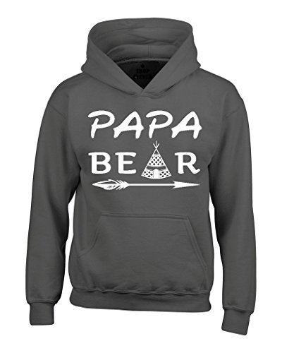 Shop4Ever Papa Bear Teepee Hoodies Father's Day Sweatshirts XX-LargeCharcoal (Fathers Day Pullover Hoodie)
