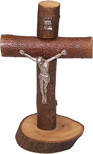 Holy Land Market Table natural Olive wood Cross/Crucifix with with bark left as is (5.5 Inch)