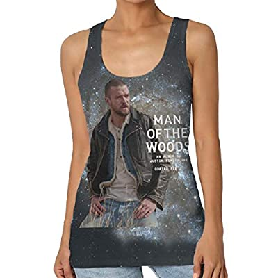 MadisonOndde Women's Justin Timberlake Man of The Woods Fashion Summer Music Band Fans Sleeveless Tank Full Size T Shirt