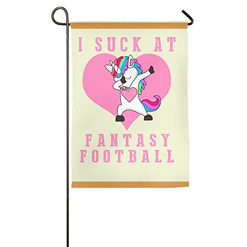 I Suck At Fantasy Football Loser Rainbow Unicorn Single Side Print 1218 Inches Home Garden Flag Garden Flag White -