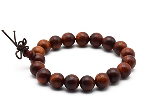 Wooden Prayer Beads - Zen Dear Unisex Natural Rosewood Prayer Beads Buddha Buddhist Prayer Meditation Mala Necklace Bracelet (10mm 19 beads)