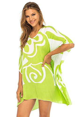 - Back From Bali Womens Loose Beach Dress Cover up Short Poncho Butterfly Lime