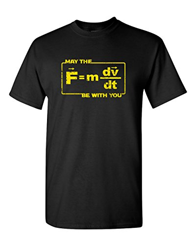 Thread Science May The Force Be With You Funny Space Star Astronomy Astrology Pun Physics Humor Formula Adult Mens Graphic T Shirt Apparel Tee Black  Large