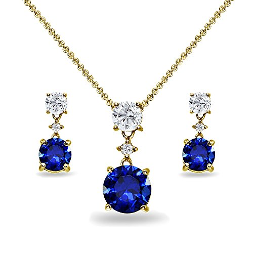 (Yellow Gold Flashed Sterling Silver Created Blue Sapphire & White Topaz Round Three Stone Dangling Necklace & Stud Earrings)