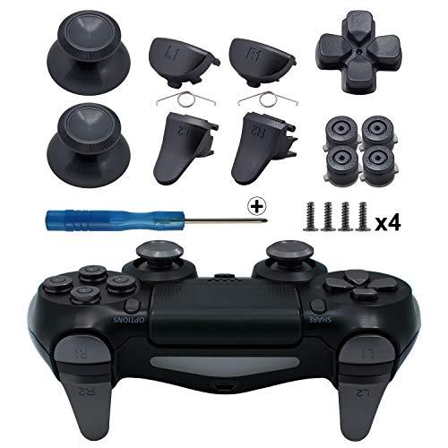 TOMSIN Metal Buttons for PS4 Slim/ PS4 Pro Controller, Aluminum Metal Thumbsticks Analog Grip & Bullet Buttons & D-pad & L1 R1 L2 R2 Trigger for PS4 Controller Gen 2 (Mental Black)