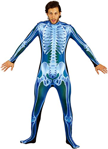U LOOK UGLY TODAY Mens Halloween Costume X-Ray Skeleton Light up Jumpsuit for Adult Fancy Party Dress One Size