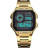 Electronic Watch Men s Waterproof Multi Function Sports Watch Square Fashion Electronic Watch (gold)