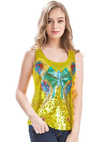 Yellow Sequin Top (MANER Womens Shimmer Glam Sequin Butterfly Sleeveless Round Neck Tank Top (Lemon Yellow,)