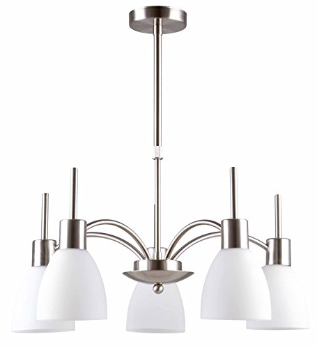 Satin Nickel Finish Chandeliers (IN HOME 5-Light CHANDELIER CH09, Satin Nickel Finish with Opal Glass Shade, UL listed)