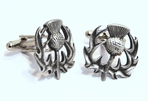 Scottish Thistle Jewellery (Scottish Thistle Pewter Cuff Connectors – Gift Boxed)