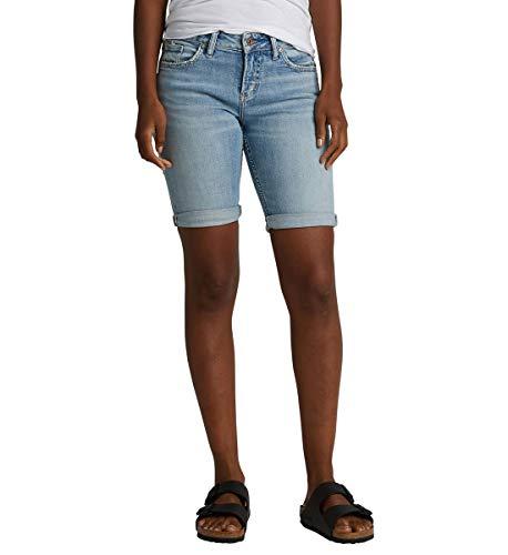 Silver Jeans Co. Women's Suki Curvy Fit Mid Rise Bermuda Shorts, Vintage Light, 25W x 9L ()