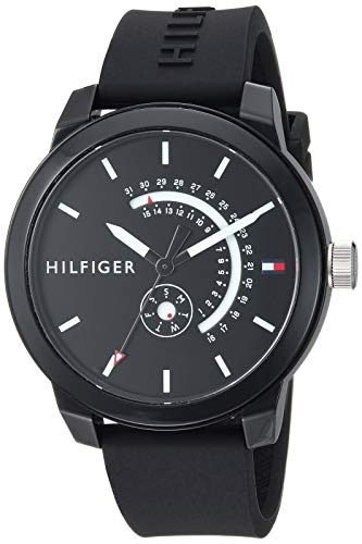 Tommy Hilfiger Men's Denim Quartz Watch with Silicone Strap, Black, 19.4 (Model: 1791483)
