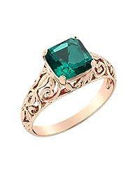 14K Gold 2.00 CT Emerald Ring Vintage Art Deco Filigree
