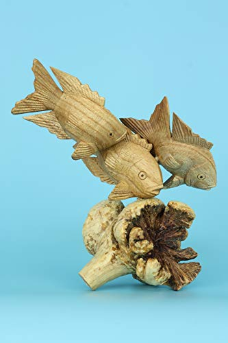 G6 Collection Wooden Hand Carved 3 Fish Swimming Statue Figurine Sculpture Art Decorative Rustic Home Decor Accent Handmade Gift Handcrafted Seaside Tropical Nautical Ocean Coastal Decoration 3 Fish