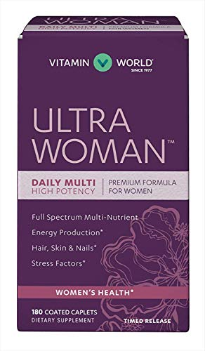 Vitamin World Ultra Woman Daily Multivitamins 180 Caplets, High Potency, Full Spectrum Multi-Nutrient, Hair Skin Nails, Timed Release, Gluten Free, Coated ()