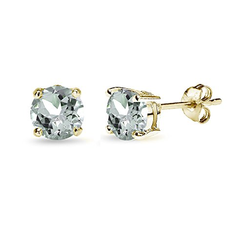 (Yellow Gold Flashed Sterling Silver Aquamarine 6mm Round-Cut Solitaire Stud Earrings)