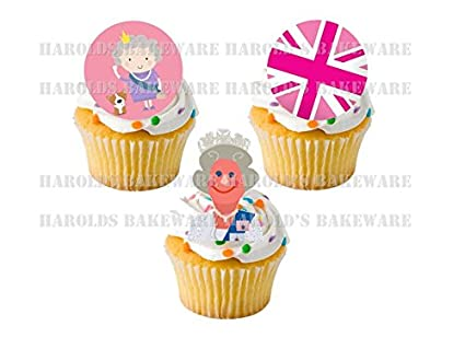 Stand-up Fairy Cake Decorations Queen/'s 90th Birthday Edible Cupcake Toppers