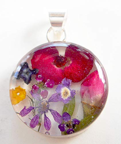 Silver 925 dried pressed multi-colored flower round necklace pendant ()