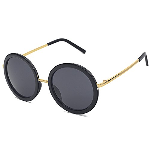 Pro Acme Vintage Oversized Round Circle Sunglasses for Women (Baby Black Frame/ Gold Rimmed/Black - Gold Rimmed Sunglasses