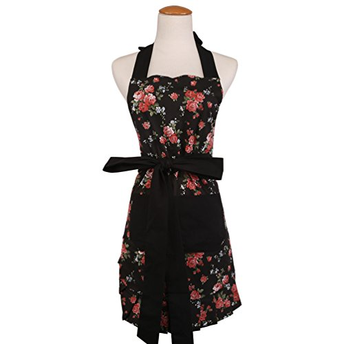 s Apron with 2 Pockets-Extra Long Ties, Home Baking or Kitchen Cooking, Graceful and Flirty, Black style-6-Leeotia ()