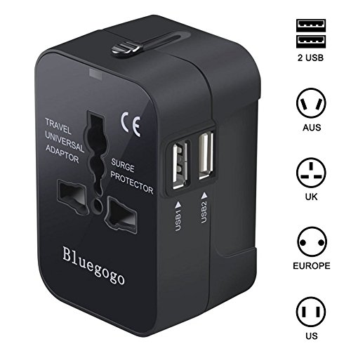 Bluegogo Travel Adapter,Universal All in One Worldwide Travel Adapter Wall Charger AC Power Plug Adapter Power Plug Wall Charger with Dual USB Charging Ports for USA EU UK AU - USB Cable(Black)
