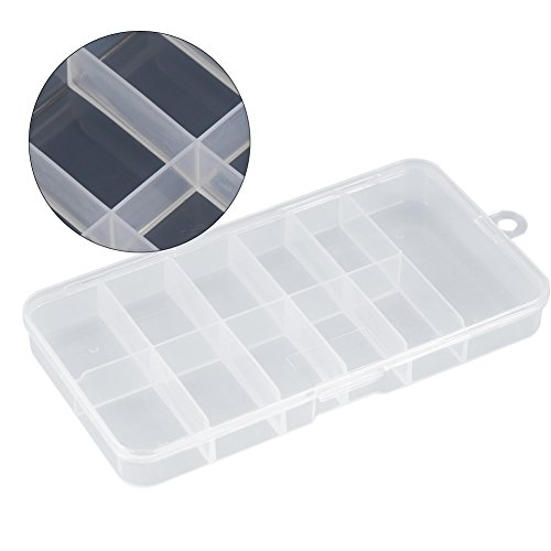 (Nail Tip Storage Box,Clear White Compartments and Useful Durable Plastic False Nail Art Empty Case Holder Container Tool)