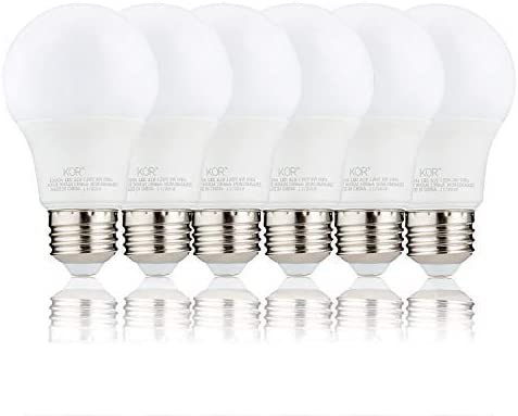 (Pack of 6) KOR 9W LED A19 Light Bulb – (60W Equivalent), UL Listed, 3000K (Soft White), 800 Lumens, Non-Dimmable, LED 9 Watt Standard Replacement Bulbs, with E26 Base, 15000 Hours, Long Life