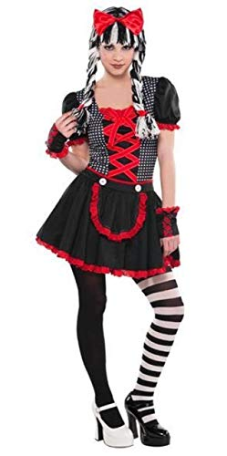 Girls Teens Black Red White Creepy Scary Gothic Doll 4 Piece Halloween Carnival Fancy Dress Costume Outfit 10-16 Years (10-12 -