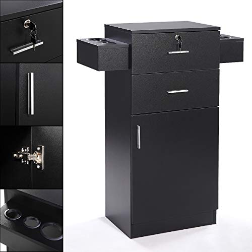 3-layer Beauty Salon Storage Cabinet w/Hair Dryer Holder Lockable Styling Station Black