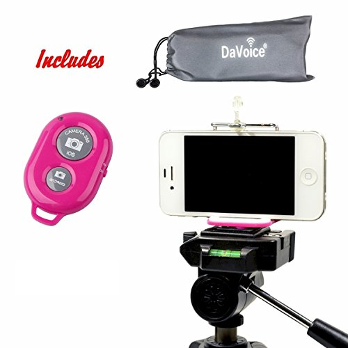 DaVoice Cell Phone Tripod Mount Adapter Holder + Bluetooth Remote Control + Carry Bag for iPhone X Se 8 7 6 6s Plus 5 5s 5c Samsung Galaxy S9 S8 S7 S6 S5 Edge Universal Bracket Attachment (Hot Pink) by DaVoice
