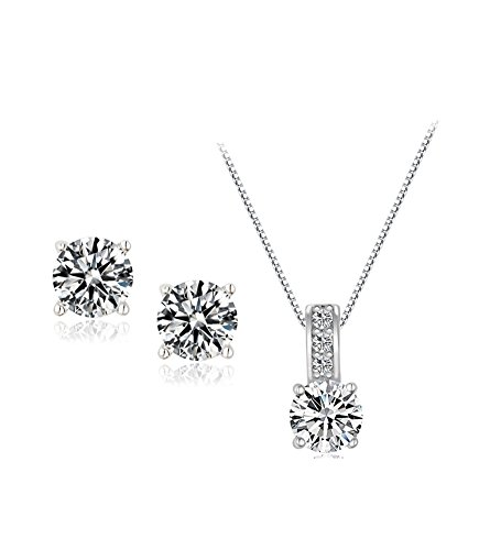 - UDORA Cube Zircon Earrings Necklace Jewelry Set Bridesmaid Wedding Party Gift Package (J01)