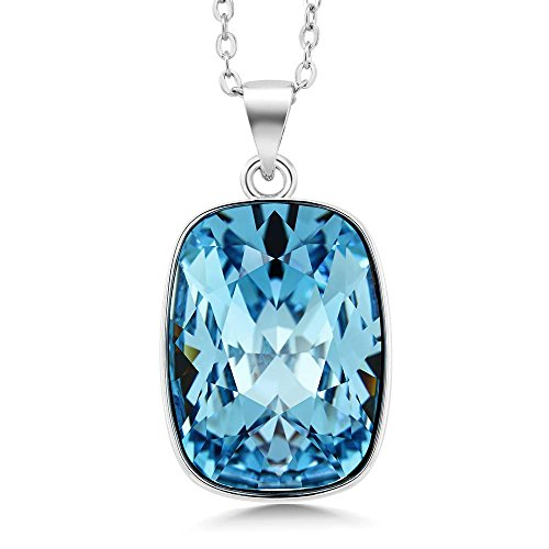 Gem Stone King Rhodium Plated 18X13MM Octagon Cut Pendant Made with Swarovski Crystals ()