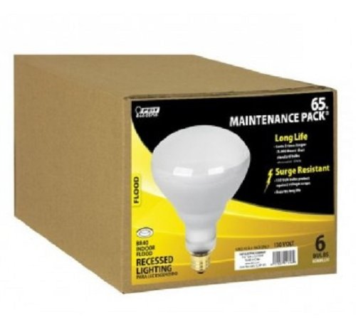 Feit Electric 65BR/FL/MP-130 65-Watt BR40 Indoor Reflector Flood Light, 6 Pack