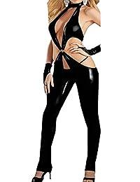 FASHION QUEEN Sexy Black Low Cut Women's Catsuit Crotchless Bodysuit Fetish Lingerie