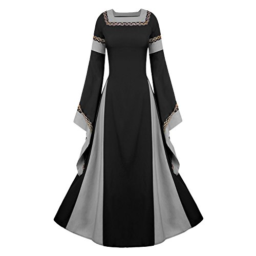 Women's Medieval Dress Halloween Cosplay Costume Lace Up Vintage Floor Length Retro Long Dress (L, C-black) ()