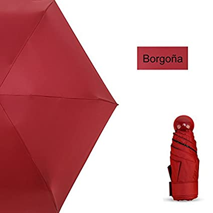 Youkara 19cm Sombrillas de Mujer Ultraligeras Plegable Sunny Lluvia Paraguas De Doble Uso de Vino Rojo