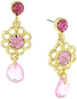 Gold-Tone Rose Pink Filigree Flower Teardrop Earrings