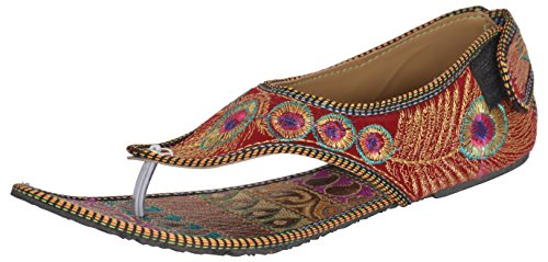 Red Choice Collection Women's Indian Ethnic Footwear (11 B(M) US) (Indian Embroidered Sandals)
