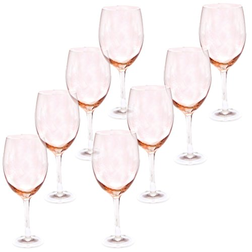 Certified International White Wine Stemware Glass (Set of 8), 20 oz, (Pink Wine Glass)
