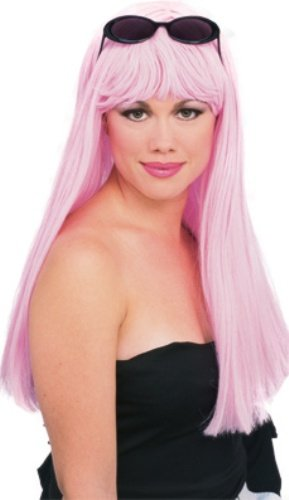 Rubie's Glamour Long Wig with Bangs, Pink, One -
