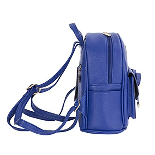 Women Blue for Backpack Mini Girls Leather Cute Bowknot Purse Fashion Backpack fgwrUxfA
