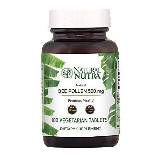 (Natural Nutra 100% Pure and Raw Bee Pollen Pills for Energy, Healthy Skin, Allergy Relief, Antifungal, Immunity, Health and Vitality Supplement, 100 Vegetarian Tablets)