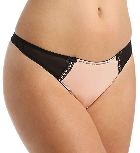 Creme Bralee Amanda Satin Thong (12336T) XL/Peach Black