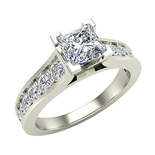Princess Cut Riviera Shank Diamond Engagement Ring 1.07 Carat Total Weight 14K White Gold (Ring Size 5)