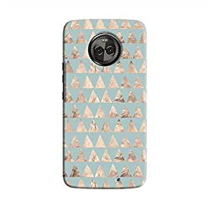 Cover It Up - Brown Pale Blue Triangle Tile Moto X4 Hard Case