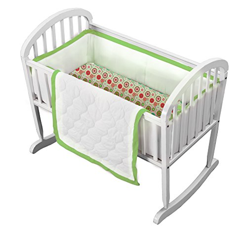 Baby Doll Medallion 3 Piece Cradle Bedding Set, Green Apple ()
